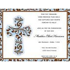 Blue Filigree Cross Invitation