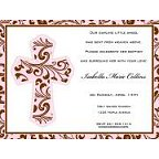 Pink Filigree Cross Invitation