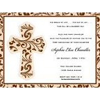 Taupe Filigree Cross Invitation